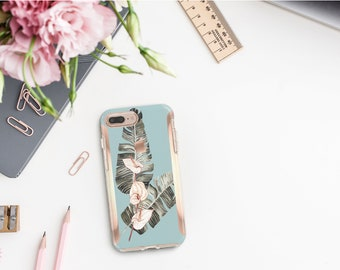 Hazy Flowerly Collection and Rose Gold Hard Case Otterbox Symmetry. iPhone X . iPhone Xs Max . iPhone XR . iPhone 8 . Monogram