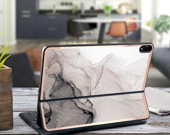 "Nude Charcoal Ink Marble and Rose Gold Vinyl Skin Decal - Apple Smart Keyboard Folio iPad Pro 11"" . iPad Pro 12.9"" . iPad Air 10.5"""