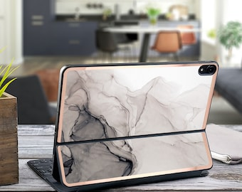 "Nude Charcoal Ink Marble and Rose Gold Vinyl Skin Decal for  Apple Smart Keyboard Folio Magic Keyboard  . iPad Pro 12.9"" . iPad Pro 2020"""