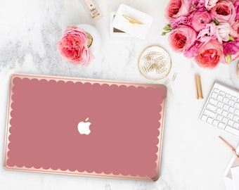 Chic Mauve Glow Scallop . Natural Red . Distinctive Macbook Hard Case and Bold Rose Gold Accents . Macbook Pro 13 Case . Custom Monogram