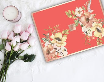 Coral Flowerly Collection and Rose Gold Edge Vinyl Skin Microsoft Surface Pro X , Surface Laptop 3 , Surface Pro 7  Surface Go