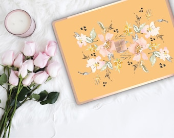 Macaroni and Cheese Flowerly Collection and Rose Gold Edge Vinyl Skin Microsoft Surface Pro X , Surface Laptop 3 Surface Pro 7  Surface Go