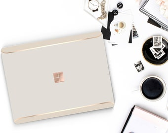 Marshmallow and Cream Duo Tone Rose Gold Edge Vinyl Skin  Microsoft Surface Pro X , Surface Laptop 3 , Surface Pro 7 . Surface Go  Monogram