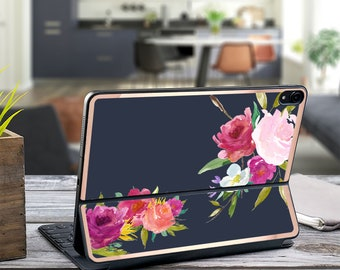 "Rosey Navy Blue and Rose Gold Vinyl Skin Decal - Apple Smart Keyboard Folio iPad Pro 11"" . iPad Pro 12.9"" . iPad Air 10.5 . Custom Monogram"