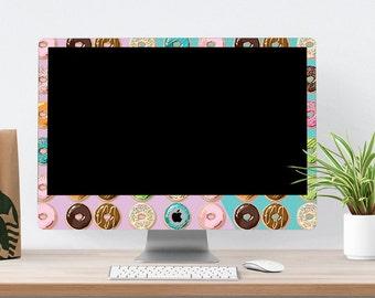 "Eat Donuts for Breakfast Vinyl Skin for iMac 21.5""  . iMac 27"" 5k (Includes Wireless Apple Keyboard / Apple Magic Touchpad / Foot). Monogram"