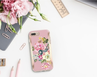 Brushed Cameo Pink Flowerly Collection and Rose Gold Hard Case Otterbox Symmetry  iPhone X   iPhone 11 Pro Max   iPhone XR      Monogram