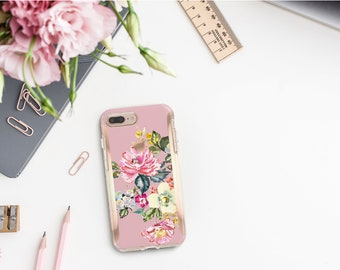 Cameo Pink Flowerly Collection and Rose Gold Hard Case Otterbox Symmetry. iPhone X . iPhone Xs Max . iPhone XR . iPhone 8 . Monogram