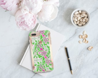 Giraffe and Rose Gold . Lilly Pulitzer Inspired . Hard Case Otterbox Symmetry. iPhone X . iPhone Xs Max . iPhone XR . iPhone 8 . Monogram