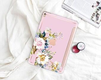 "Sweet Pea with Rose Gold Smart Cover Hard Case . iPad Pro 12.9 2018 . iPad Pro 11"" . iPad Air 10.5"". iPad Mini 5 . Custom Monogram"