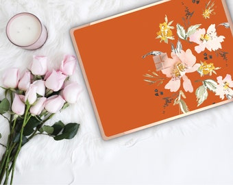 Light Burnt Orange Flowerly Collection and Rose Gold Edge Vinyl Skin Microsoft Surface Book 2 , Surface Laptop 2 , Surface Pro 6  Surface Go