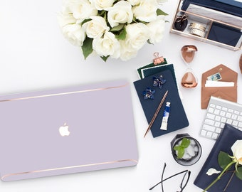 Frozen Lilac . Distinctive Macbook Hard Case and Thin Rose Gold Accents . Macbook Pro 13 Case A2159  . Macbook Po 15 Touch . Custom Monogram