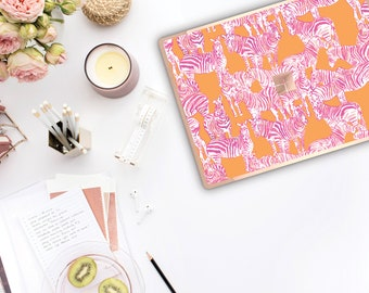 Zebra and Rose Gold Edge . Lilly Pulitzer Inspired . Vinyl Skin Microsoft Surface Book 2 , Surface Laptop 2 Surface Pro 6 . Surface Go
