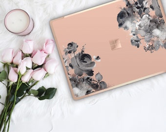 Desert Sand Flowerly Collection and Rose Gold Edge Vinyl Skin Microsoft Surface Book 2 , Surface Laptop 2 , Surface Pro 6 . Go . Monogram