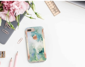 Brushed Green Turquoise Ink Marble and Rose Gold Hard Case Otterbox Symmetry  . iPhone X . iPhone Xs Max . iPhone XR .  iPhone 11