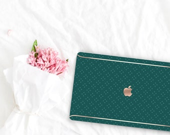 Dark Slate Green Pattern Collection Leather Macbook Case . Distinctive Macbook Hard Case and Rose Gold . Macbook Pro 13 Case . Monogram