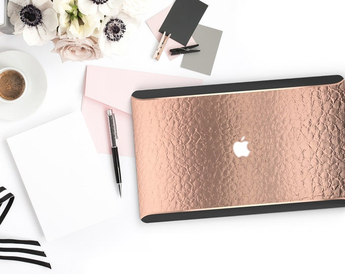 Featured listing image: Macbook Pro 13 Case Macbook Air Case Laptop Case Macbook Case . Elegant Rose Gold Alligator . Rose Gold Chrome Black Velvet Edge - Platinum