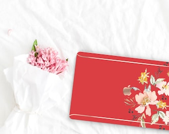 Red Hot Flowerly Collection Leather Macbook Case . Distinctive Macbook Hard Case and Rose Gold . Macbook Pro 13 Case . Custom Monogram