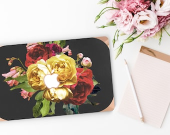 Vintage Floristry                 . Distinctive Macbook Hard Case and Bold Rose Gold Accents . Macbook Pro 13 Case . Custom Monogram