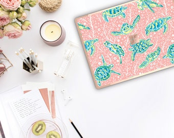 Sea Turtle and Rose Gold Edge . Lilly Pulitzer Inspired . Vinyl Skin Microsoft Surface Pro X , Surface Laptop 3 Surface Pro 7 . Surface Go