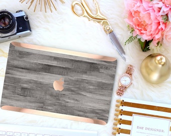 Rustic Gray Untreated Wood . Distinctive Macbook Hard Case and Bold Rose Gold Accents . Macbook Pro 13 Case . Custom Monogram