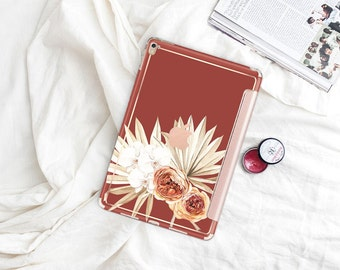 "Cinnamon Boho with Rose Gold Smart Cover Hard Case . iPad Pro 12.9"" 2020 . iPad Pro 11"" . iPad Air 10.5"". iPad Pro  2020 . Custom Monogram"