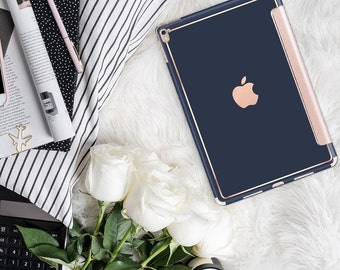 "Navy Blue Rose Gold Smart Cover Hard Case . iPad Pro 12.9 2018 . iPad Pro 11"" . iPad Air 10.5"". iPad Mini 5 . Custom Monogram"