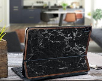 "Black Marble and Primavera Wood Edge Vinyl Skin Decal - Apple Smart Keyboard Folio Magic Keyboard  . iPad Pro 12.9"" . iPad Air 10.5"