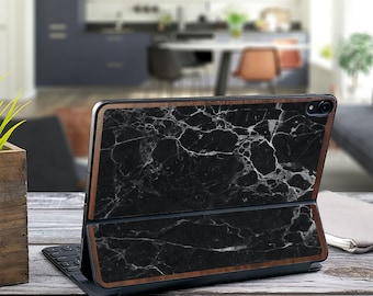 "Black Marble and Primavera Wood Edge Vinyl Skin Decal - Apple Smart Keyboard Folio iPad Pro 11"" . iPad Pro 12.9"" . iPad Air 10.5"