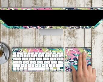"Island Seadrift Skin for iMac 21.5""  . iMac 27"" 5k (Includes Wireless Apple Keyboard / Apple Magic Touchpad / Foot). Monogram"