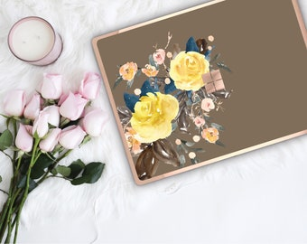 Moss Flowerly Collection and Rose Gold Edge Vinyl Skin Microsoft Surface Pro X , Surface Laptop 3 , Surface Pro 7 . Surface Go . Monogram