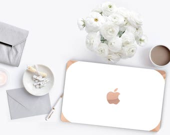 Elegant White with Curvy Rose Gold Edge . Distinctive Macbook Hard Case and Bold Rose Gold Accents . Macbook Pro 13 Case . Custom Monogram