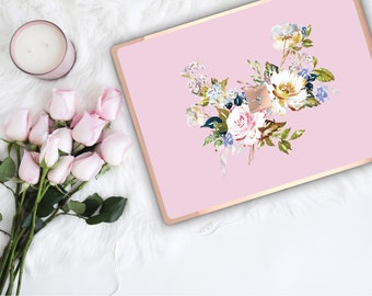 Sweet Pea Flowerly Collection and Rose Gold Edge Vinyl Skin Microsoft Surface Pro X , Surface Laptop 3 Surface Pro 7  Surface Go