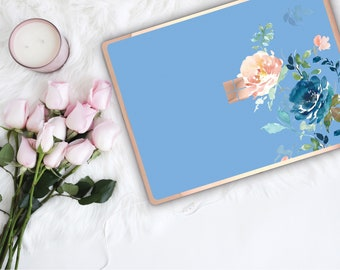 Light Cobalt Blue Flowerly Collection and Rose Gold Edge Vinyl Skin Microsoft Surface Pro X , Surface Laptop 3 , Surface Pro 7 . Monogram