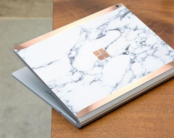 Bianco Sivec White Marble and Rose Gold Edge Vinyl Skin  Microsoft Surface Book 2 , Surface Laptop , Surface Pro 6  . Surface Go . Monogram