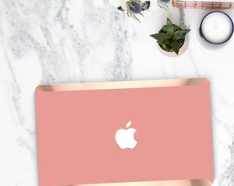 Elegant Pink Yucatan Macbook Case . Distinctive Macbook Hard Case and Bold Rose Gold Accents . Macbook Pro 13 Case A2159  . Custom Monogram