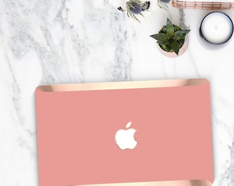Elegant Pink Yucatan Macbook Case . Distinctive Macbook Hard Case and Bold Rose Gold Accents . Macbook Pro 13 Case . Custom Monogram
