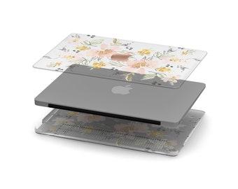 Uko Vintage Japanese Floral Crystal Clear Transparent Macbook Case . Distinctive Macbook Hard Case and Rose Gold Apple . Macbook Pro 13 Case