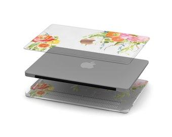 Trailing Orange Crystal Clear Transparent Macbook Case . Distinctive Macbook Hard Case and Rose Gold Apple . Macbook Pro 13 Case . Monogram