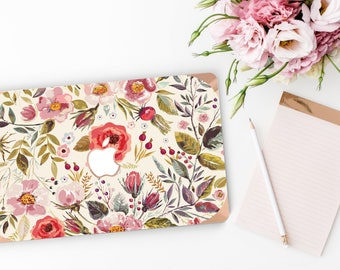 Morning Floral Medley                . Distinctive Macbook Hard Case and Bold Rose Gold Accents . Macbook Pro 13 Case . Custom Monogram