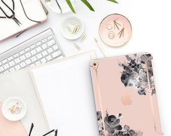 "French Rose Flowerly Collection Bold Rose Gold Accents   Smart Keyboard compatible Hard . iPad Air 10.5"" . iPad Mini 5 . iPad Pro 10.5"""