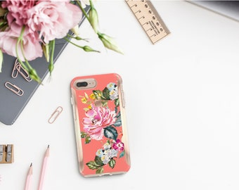 Tea Rose Flowerly Collection and Rose Gold Hard Case Otterbox Symmetry. iPhone X . iPhone Xs Max . iPhone XR . iPhone 8 . Monogram