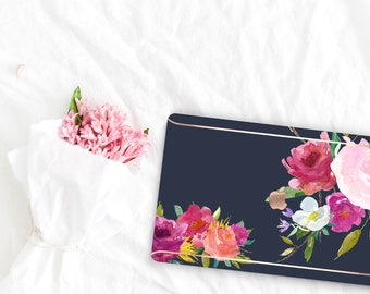 Navy Blue Flowerly Collection Leather Macbook Case . Distinctive Macbook Hard Case and Rose Gold . Macbook Pro 13 Case . Custom Monogram