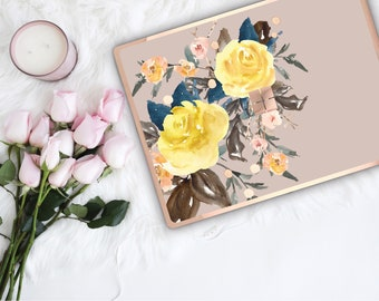Pale Silver Flowerly Collection and Rose Gold Edge Vinyl Skin Microsoft Surface Pro X , Surface Laptop 3 , Surface Pro 7 . Surface Go