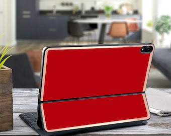 "Lipstick Red and Rose Gold Vinyl Skin Decal for  Apple Smart Keyboard Folio Magic Keyboard  . iPad Pro 12.9"" . iPad Pro 2020 . iPad"