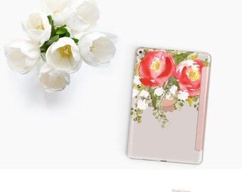 Red Blossom with Rose Gold Smart Cover Hard Case for the    iPad Pro  . New iPad 9.7 2018. New iPad Pro 12.9 2018 . iPad Pro 11""