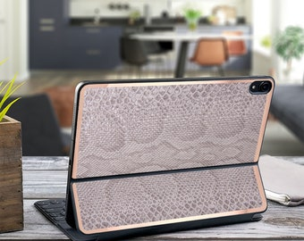 "Gray Silver Snake and Rose Gold Vinyl Skin Decal for  Apple Smart Keyboard Folio Magic Keyboard  . iPad Pro 12.9"" . iPad Pro 2020"