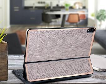 "Gray Silver Snake and Rose Gold Vinyl Skin Decal - Apple Smart Keyboard Folio iPad Pro 11"" . iPad Pro 12.9"" . iPad Air 10.5"