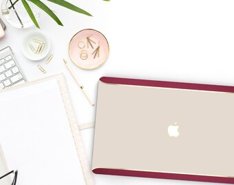 Ash White Gold Red Velvet Macbook Case . Distinctive Macbook Hard Case and Bold Rose Gold Accents . Macbook Pro 13 Case . Custom Monogram