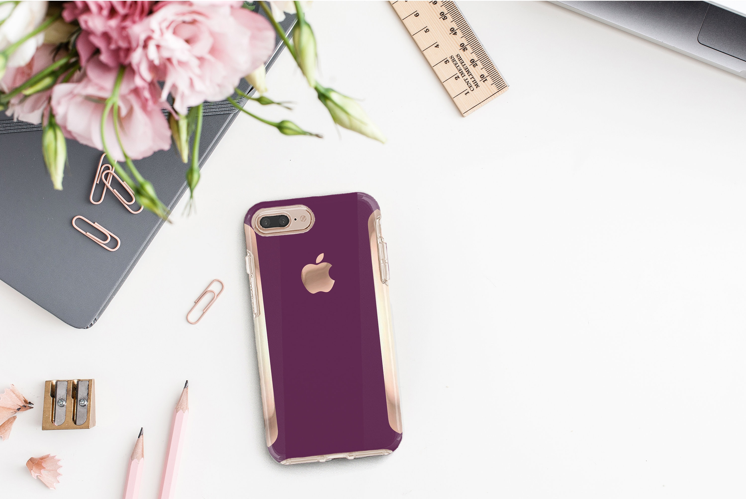 Purple Davenport Rose Gold Hard Case Otterbox Symmetry Iphone X