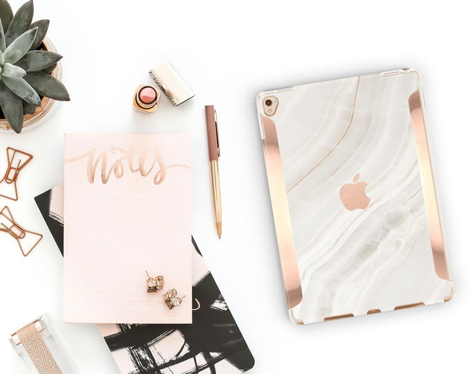 """Featured listing image: iPad Case . iPad Pro 10.5 . Marble Stone with Rose Gold for the   iPad Pro 12.9"""" Smart Keyboard compatible Hard Case"""